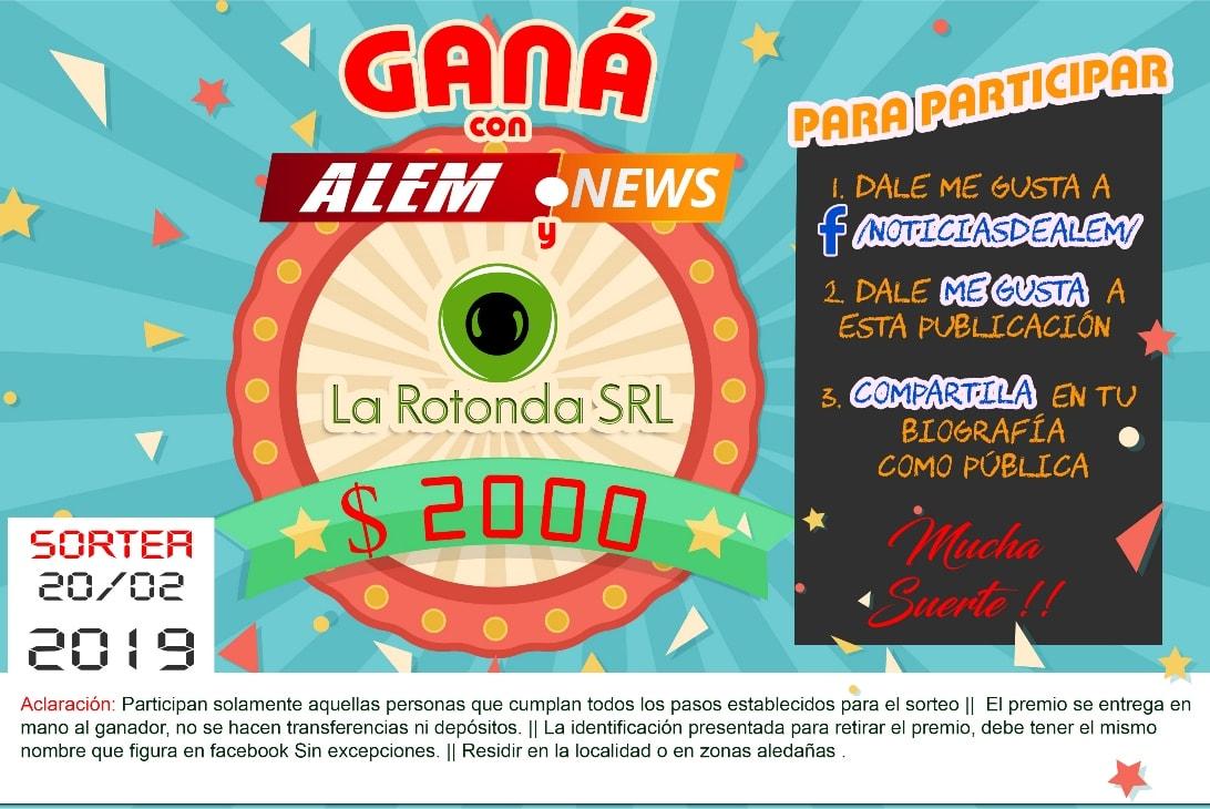 Alem News y la Rotonda SRL sortean $2000