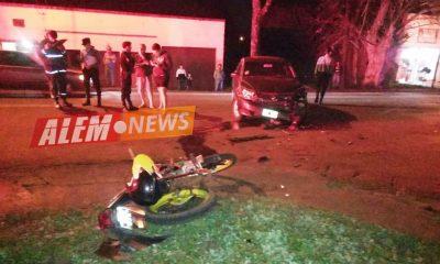 Intentó una maniobra peligrosa y embistió a un motociclista